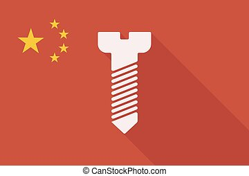 China long shadow flag with a screw - Illustration of a...