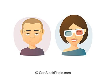 Male and female  cartoon avatar set