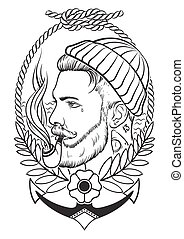 Hand drawn with tobacco pipe. - Hand drawn portrait of...