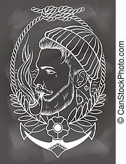 Hand drawn sailor with tobacco pipe. - Hand drawn portrait...