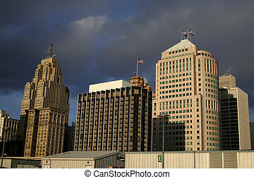 Downtown Detroit - Tall historic buildings in downtown...