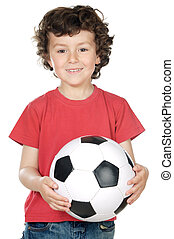 boy with a ball of football - adorable boy dreaming about...