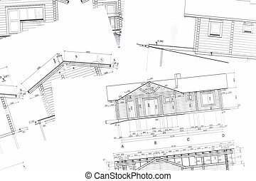 nuovo, cianografie, architettonico, casa