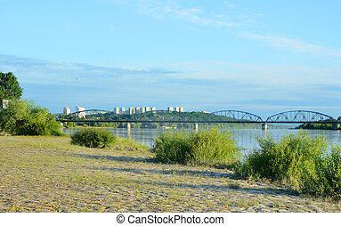 Bridge over Vistula river. Transportation infrastructure in Grudziadz.