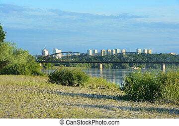 Bridge over Vistula river. Transportation infrastructure in Grudziadz
