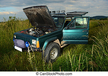 4x4 offroad truck on meadow