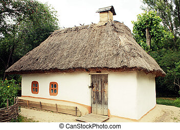 Traditional ukrainian rural house in park Pirogovo, Kiev,...