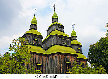 Wooden church in Pirogovo,Ukraine - Wooden church in...
