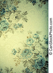 Vintage wallpaper with blue floral victorian pattern, toned...