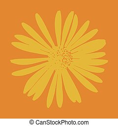 Vector flower - Vector Yellow flower on an orange background...
