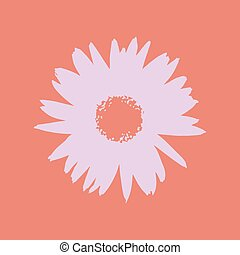 Vector flower - Pink vector flower on a red background