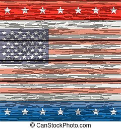 Wood US-Flag - US-Flag on the wooden background