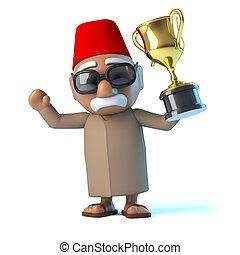 gagne,  3D, marocain, or, tasse