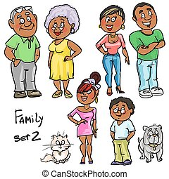 Family - set 2, Hand drawn comic family members isolated,...
