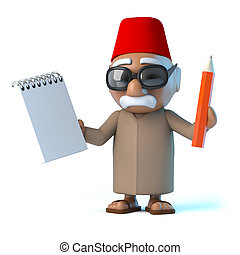 3D, marocain, tenue, a, Bloc-notes, et, crayon,