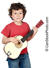 child with guitar - adorable child with guitar a over white...