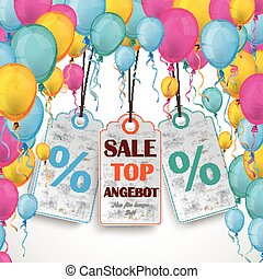 """Colored Balloons Curtain 3 Price Stickers - German text """"Top..."""