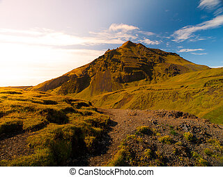 Typical icelandic landscape - Typical landscape with green...