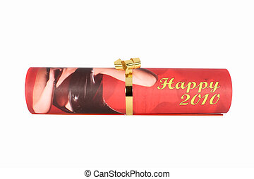 Happy New Year 2010, a sheet of calendar isolated on white