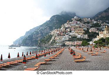 Italy. Positano beach. - Italy. Amalfi coast. Positano...