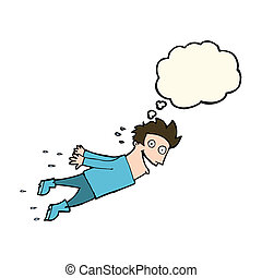 cartoon drenched man flying with thought bubble