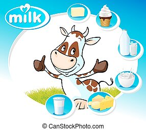 blue design with dairy products and funny cow - vector...