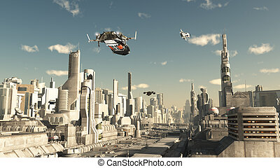 Scout Ship Landing in a Future City - Science fiction...