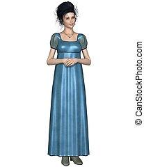 Regency Woman in Blue Dress - Illustration of a regency...