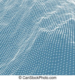 Abstract grid background. Water surface. Vector...