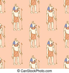 Sketch Anubis in vintage style, vector seamless pattern
