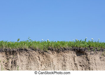 Ravine or gully cut with soil, grass and blue sky