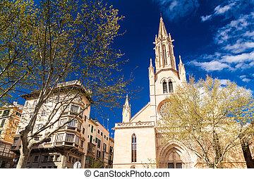 Neo-Gothic styled Santa Eulalia church in Palma de Mallorca,...