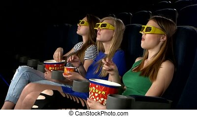 girl watching a film at the cinema and eat, 3d glasses, eating popcorn