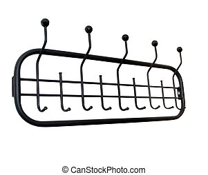 Clothes rack isolated over white - Black Clothes rack...