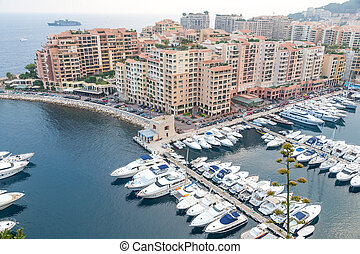 Aerial View on Monaco Harbor with Luxury Yachts, French...
