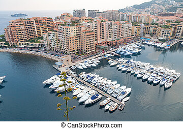 Aerial View on Monaco Harbor with Luxury Yachts, French Riviera