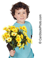 adorable boy with flowers a over white background