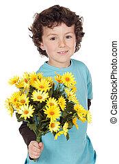 adorável, Menino, flores