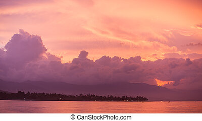 Vibrant tropical sunset at Bali indonesia - Vibrant tropical...