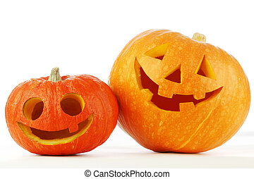 Halloween pumpkins - Two cute Halloween pumpkins isolated on...