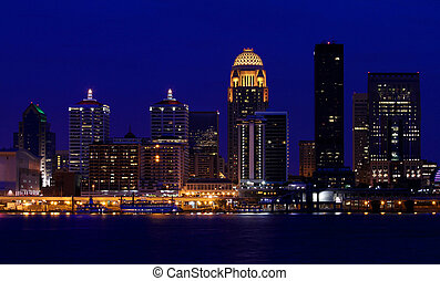 Louisville, Kentucky night skyline - Louisville, Kentucky...