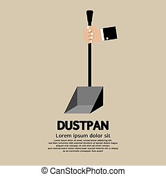 Dustpan - Hand Holding Dustpan Vector Illustration