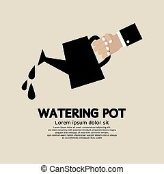 Watering Pot. - Hand Holding Watering Pot Vector...