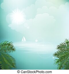 View of tropical sea between the palm trees under blue sky. Vector illustration