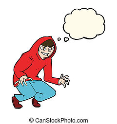 cartoon mischievous boy in hooded top with thought bubble