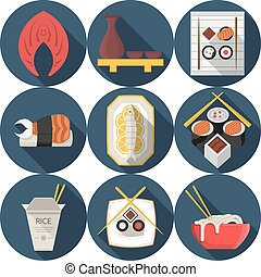 Flat round blue vector icons for asian food - Set of dark...