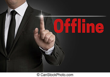 offline touchscreen is operated by businessman
