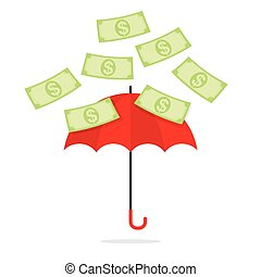 Bank Notes Falling Towards Umbrella Illustration.