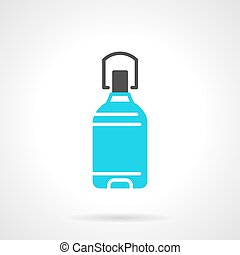 Potable water bottle blue vector icon - Flat color design...