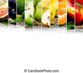 Fruit mix - Photo of colorful fruit mix with white space for...